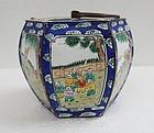 Chinese 19th Century Canton Enamel Hexagonal Jar