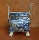 A Rare Ming B/W Tripod Censer, Zhengde/Jiajing Period