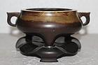 Chinese Qing Dynasty Bronze Censer Incense Burner