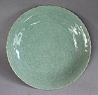 Nice Chinese Celadon Glazed Dish with Lotus flower pattern,Qing dynst