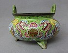 Chinese Painted Enamel Tripod Censer