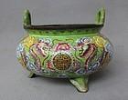 Chinese Painted Enamel Tripod Censer