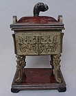 Chinese Qing Dynasty Square Bronze Censer and Wood Cover, Xuande Mark