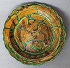 Chinese Ming 16th Century Sancai Dish with Fish Motive