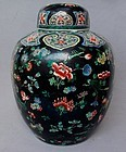 Chinese 19th Century Famille Noire Jar and Cover, Kangxi Mark
