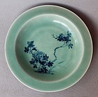 Chinese 19th C Blue and White on Celadon Glaze Dish, Chenghua Mark