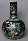 Chinese 19th Century Famille Noire Bottle Vase, Kangxi Mark
