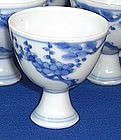 A Dozen Blue and White stem cup, Tianqi period