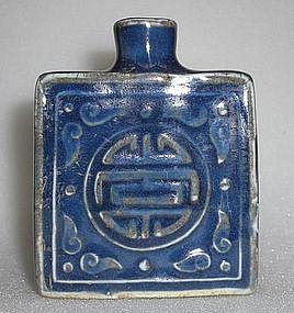 A Square Shape Blue Glaze Snuff Bottle ,Qing