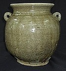 YUE JAR WITH TWO LUGS DECORATION,Tang dynasty
