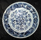 Ming blue and white Dish with Grapes design