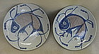 Two under glaze blue & red dish with fish motive,Qing