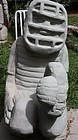 Tim Lewis Sandstone Carved Sculpture, Baseball Catcher