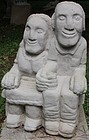Stone Carving, Seated Couple, Tim Lewis Sculpture, Sandstone