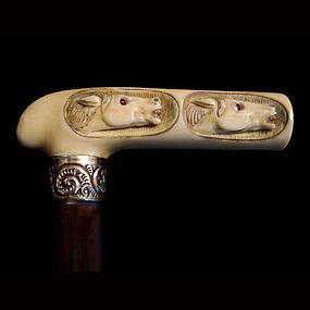 Two Ivory Horses Walking Stick