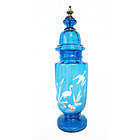 Blown Glass Blue Apothecary Jar, Perfect