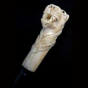 Ivory Lion Walking Stick