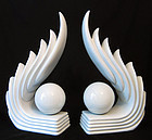 Pair of White Art Deco Lamps