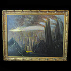 Antique NYC Industrial Surreal Fantasy Painting