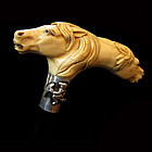 Carved Two Headed Horse Walking Stick