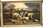 Sheep Painting Early 20th C. Oil Gilt Frame