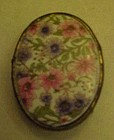 Vintage ladies porcelain chintz belt buckle