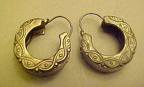 Sterling silver  pierced hoop style earrings