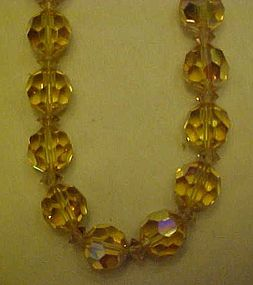 Vintage yellow aurora borealis crystal  beads necklace