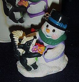 Hallmark  ornament Snow Buddies snowman and skunk