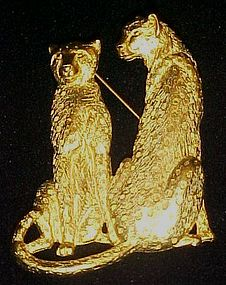 Large gold tone two leopards pin by JJ