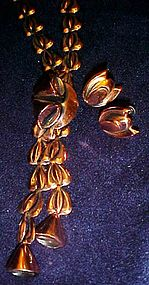 Renoir copper necklace and earrings set with bells