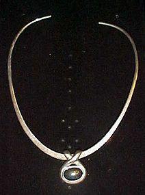 Modern collar necklace with hemotite slide pendant 925