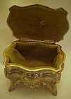 Beautiful vintage music box, fancy and velvet lined