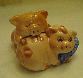 Dirty  sleepy little pigs salt and pepper shakers