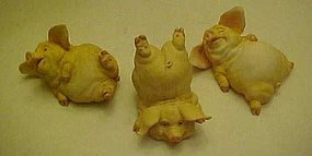 Frolicking pig  figurine trio from Home Interior