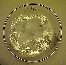 Viking Silver overlay three toed dish 25th Anniversary