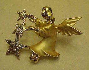 Vintage Gigi Guisti Angel  with stars lapel pin