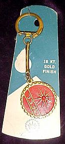 Vintage july birthstone keychain or card