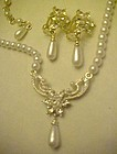 Dressy pearl and rhinestone necklace and earrings set