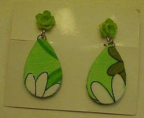 Mod lime green retro dangle earrings fabric covered