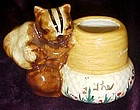 Handmade pottery chipmunk toothpick holder 1950