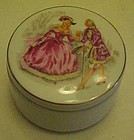 Pretty porcelain courtship pattern box with candle
