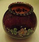 Hand painted Royal Ruby ball vase