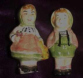 Miniature German boy and girl figurines h/p clay