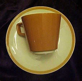 Homer Laughlin cup saucer matches Dura Print Everglade