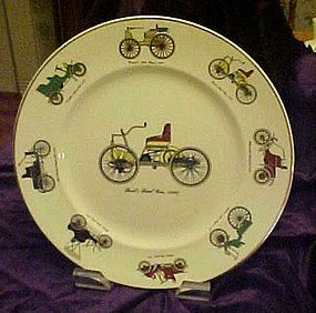 Harmony House china plate with antique automobiles
