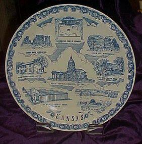 Vernon Kilns Kansas blue transferware state plate