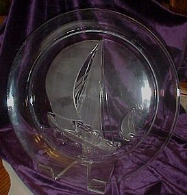 Large clear glass platter,  frosted glass sailing ships