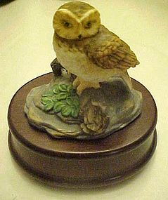 Musical porcelain owl figurine