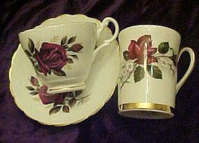 Vintage burgundy  rose England Bone China cups &saucer